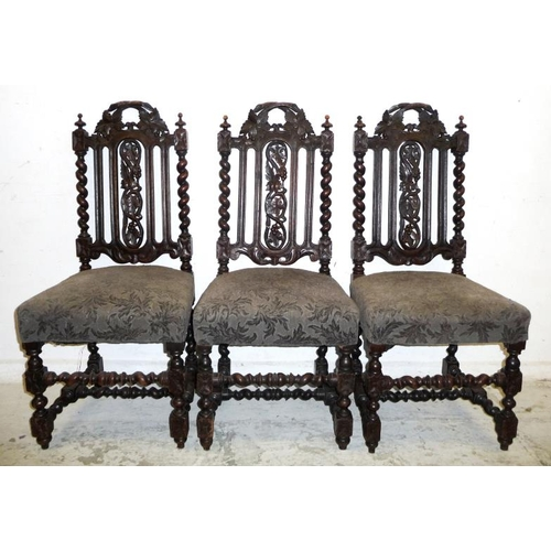 12 - Set 3 C19th Oak Carolean Style Victorian Side Chairs with barley twist supports, leaf carved centre ...