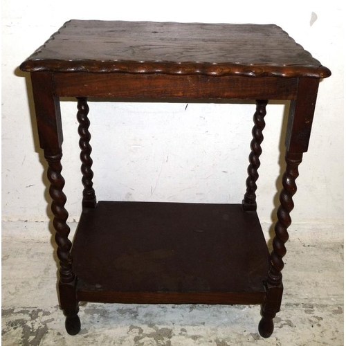 14 - Rectangular Oak 2 Tier Occasional Table with barley twist supports (A1)...