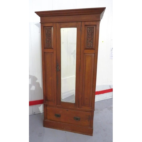 22 - Single Door Wardrobe with bevelled mirror plate to centre over 1 deep lower drawer, all under cornic...