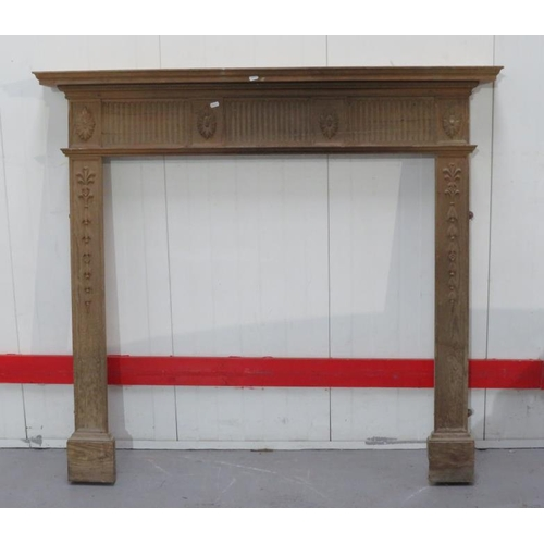 26 - Modern Pine Fire Surround with fluted top rail & flower head carved details (FWR)...