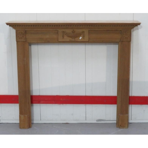 27 - Modern Pine Fire Surround with Adams style urn carving (FWR)...