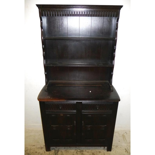 6 - Oak Dresser, lower section 2 carved panelled doors, 2 scoop carved frieze drawers, acorn finials, su...