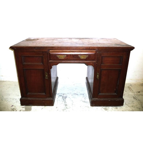 7 - Late Victorian Pedestal Dressing Table, central drawer & pair cupboard doors with internal shelving,...