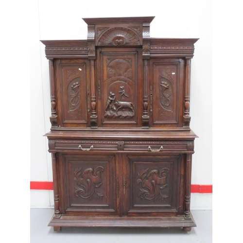 8 - Large Victorian Oak Sideboard, continental style, supported on turned supports, pair heavily carved ...
