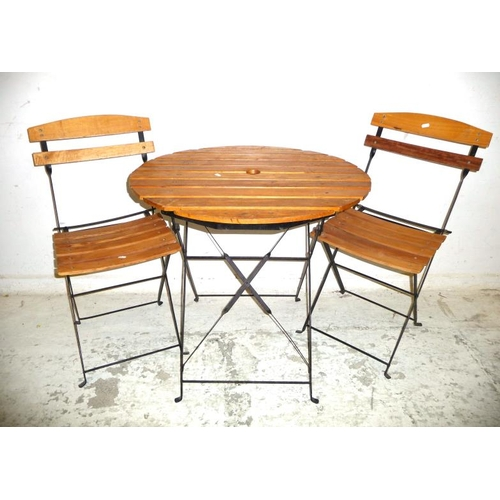 22A - Pair Folding Slatted Garden Chairs & Matching Circular Table (3) (A13)...