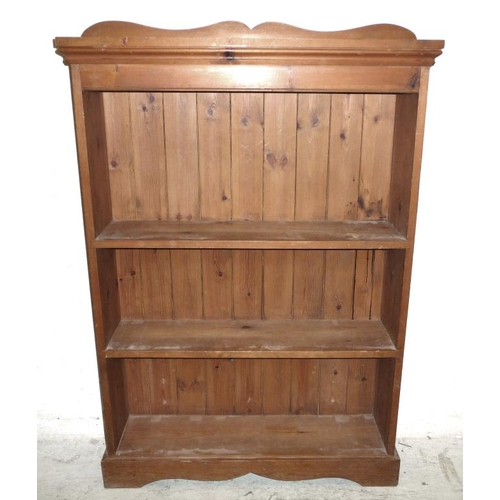 25A - Pine Open Bookcase on shaped plinth base with small canopy over (A4/5B)...