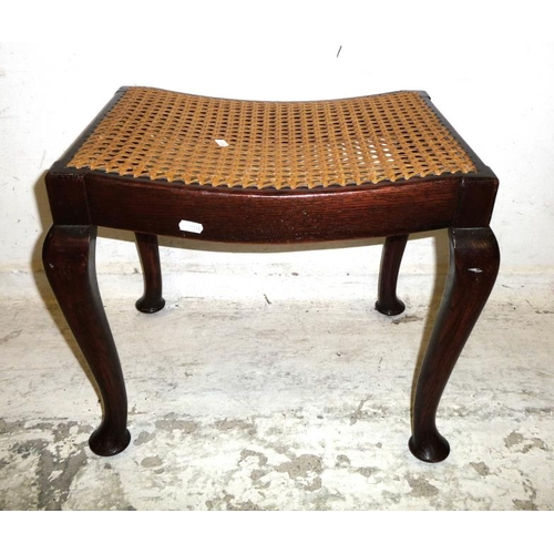 27A - Caned Saddle Seated Dressing Table Stool on cabriole supports (A7)...