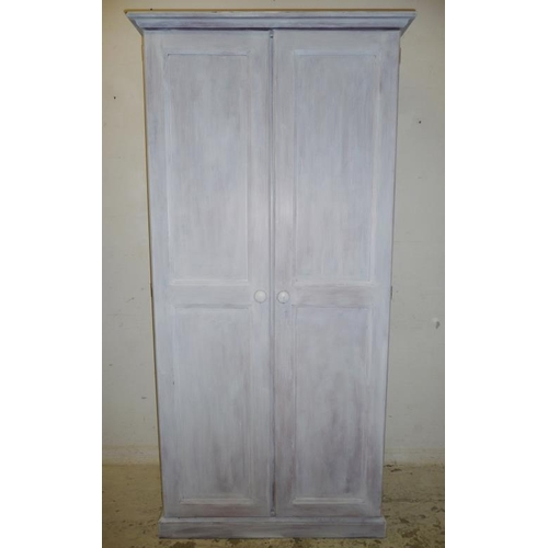 30A - Pine 2 Door Wardrobe on plinth base with lime wash finish (A9)...