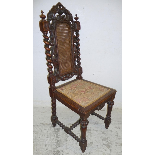 13 - Single Carolean Style Side Chair with upholstered inset seat, wooden frame with elaborate carved fro...