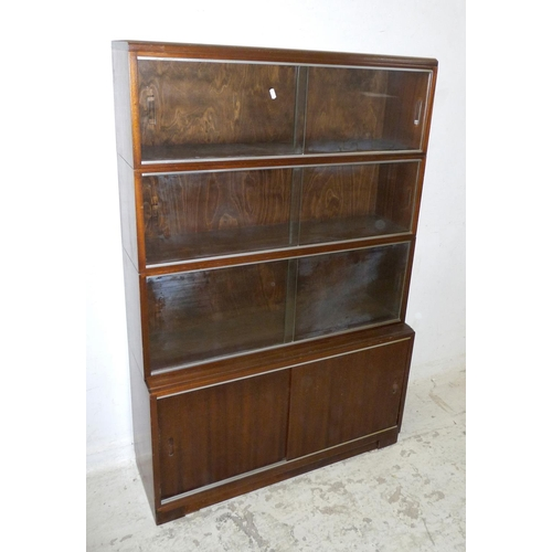 29A - Mahogany Stacking Bookcase with glass sliding doors, lower section with blind panelled doors (A9F)...