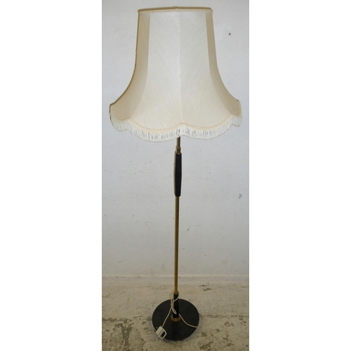 32A - Retro Standard Lamp on ebonised disc base, lacquered brass & ebonised column, with shade (BW)...