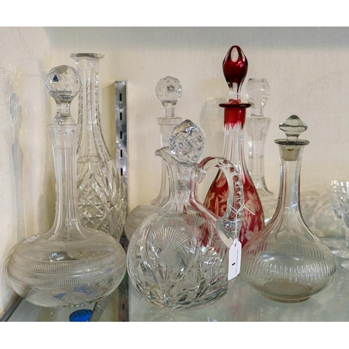 1 - A pair of glass decanters and stoppers, cut glass claret jug and four other decanters.:
