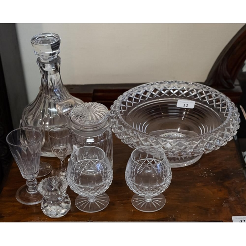 12 - A cut-glass pedestal bowl, decanter and stopper with silver 'Port label', etc.: