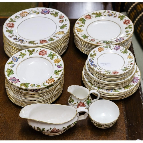 17 - A Royal Worcester 'Virginia' pattern porcelain part dinner service: transfer printed with flowers an...