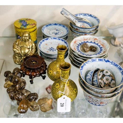20 - A part set of Chinese porcelain rice bowls, spoons and stands:, together with a pair of cloisonne va...