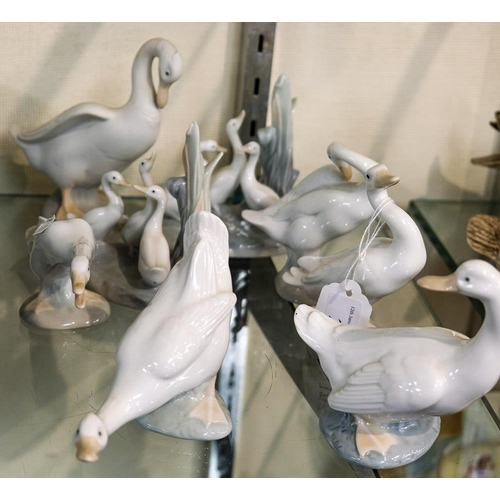 21 - A group of eight Lladro and Nao geese figures:.