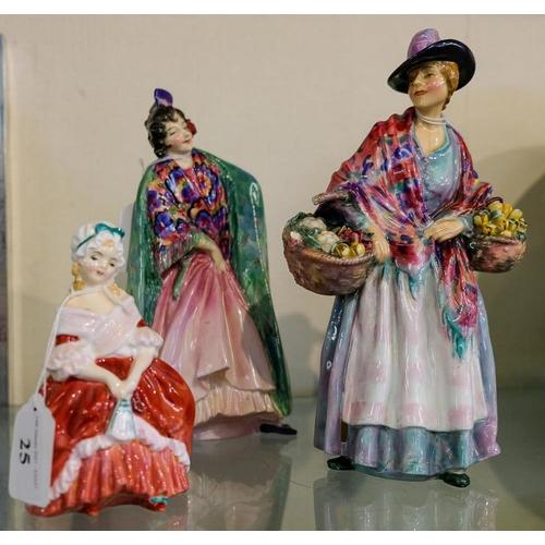 25 - Three Royal Doulton figures(d): Romany Sue, HN1757, Lizana, HN1756 and Peggy, HN 2038 (3).