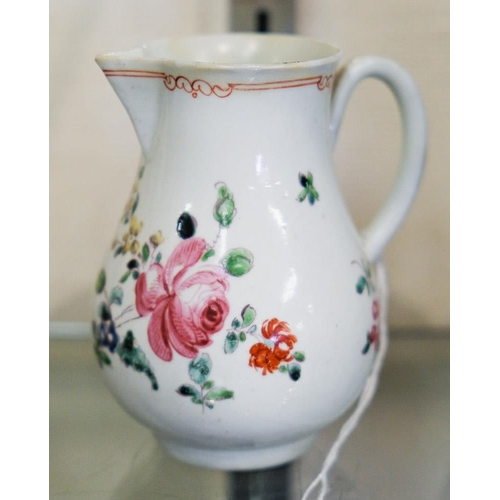 27 - A First Period Worcester porcelain sparrow beak cream jug: enamelled with a rose centred bouquet and...