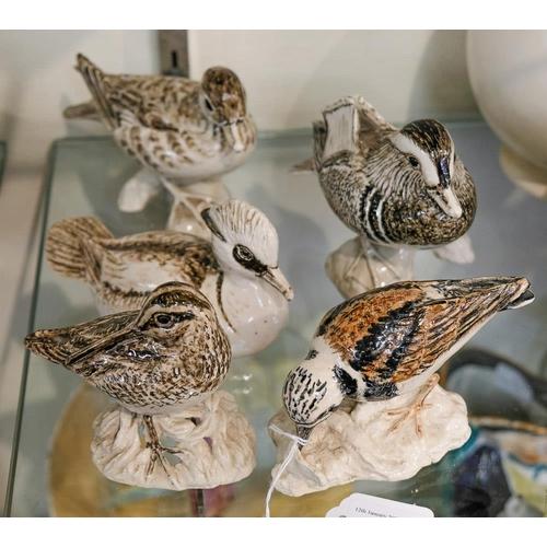 28 - Five Ciceley Lushington ceramic bird figures: comprising a male and female Mandarin Duck, a Smew, Sn...
