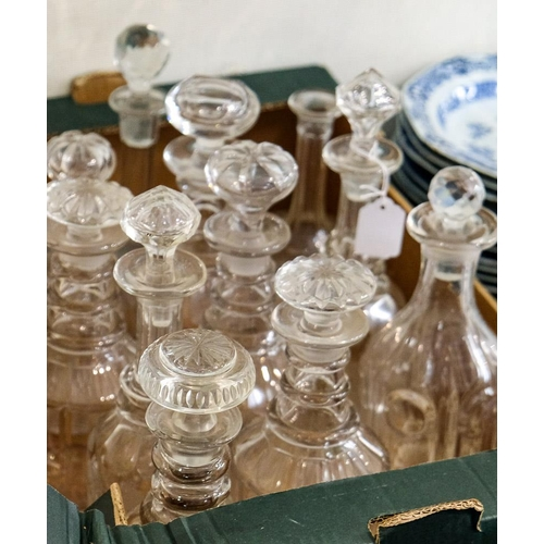 3 - A collection of various cut glass decanters and stoppers: (a lot).