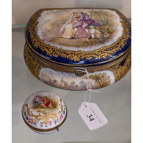 34 - A French purse shaped casket and a small circular casket: - each decorated with courting couples.