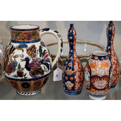 41 - A pair of Imari  gourd vases, a single vase, a Samson famille rose bowl and a Zsolnay Pecs pitcher:.