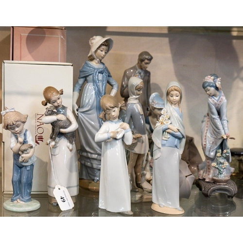49 - A collection of five Lladro and five Nao figures: including 'How Pretty' and others (some damage).