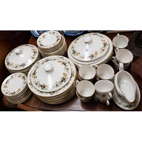55 - A Royal Doulton twelve setting 'Larchmont' pattern dinner service:.