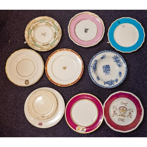 57 - A collection of various armorial plates: 19th century and later.