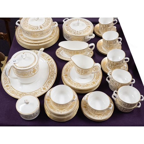63 - An extensive Royal Worcester dinner service - Hyde Park pattern:, including soup bowls and stands, t...
