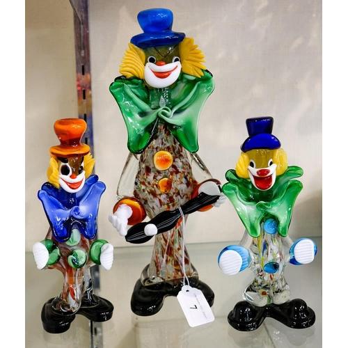 7 - Three Murano glass clowns:.