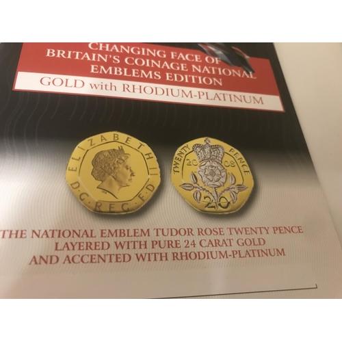 44 - 2 x Gold, Rhodium & Platinum plated coins - National Emblems...