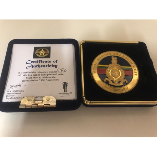 45 - Limited Edition Royal Marines 350th Anniversary coin with certificate...