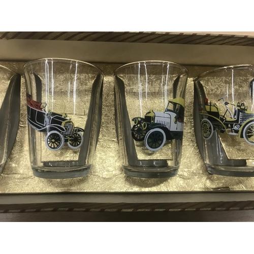 33 - Set of 6 Vintage 'Vintage Cars' shot glasses in original box c1950/60's...
