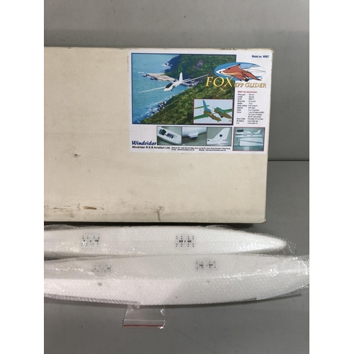 Boxed Fox epp model glider and Model parts