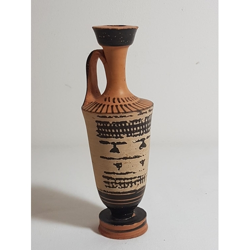 Antique Greek Small Vase With White Backround And Traditional