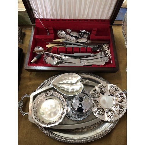 38 - Canteen box and contents plus various plated ware...
