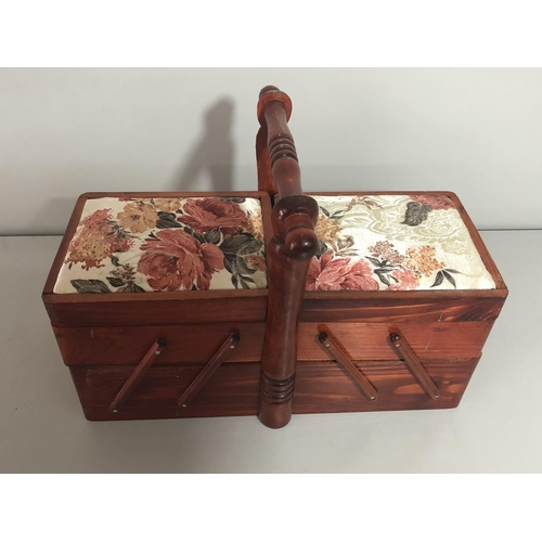 43 - Small cantilever sewing box approx23cm tall x 14 deep x 34cm long...