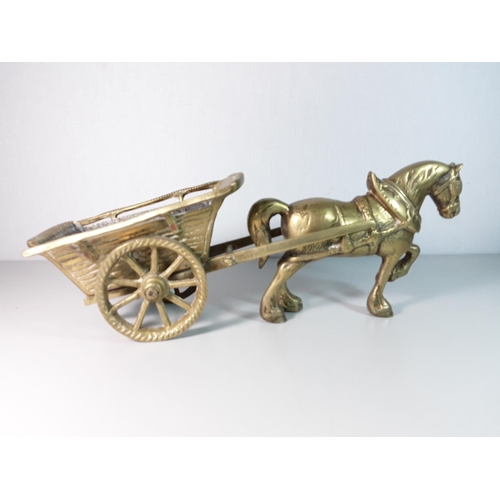 32 - Cast brass horse and carriage approx. 18