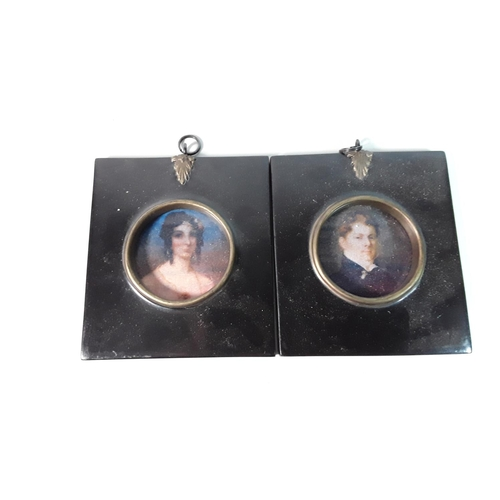 15 - Pair of framed miniatures approx 4'' x 4''...
