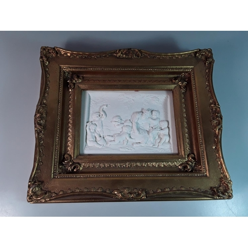 21 - Gilt framed marble plaque depicting man and goat, approx 12'' x 10''...