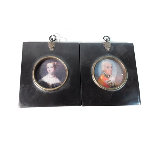 25 - Pair of framed miniatures each approx 4'' x 4''...