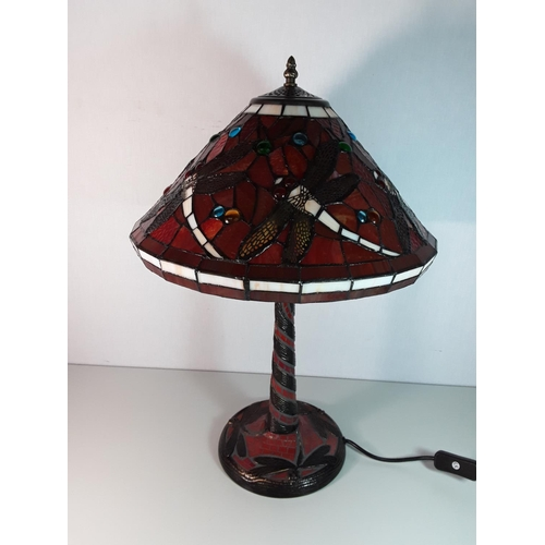 41 - Tiffany style lamp with dragonfly decorated shade approx 23'' tall...