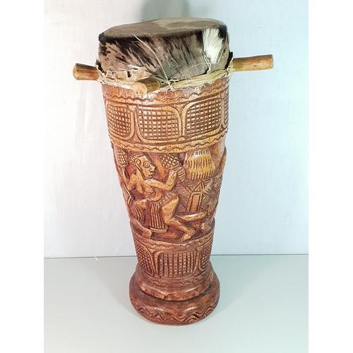 46 - Carved tribal drum...