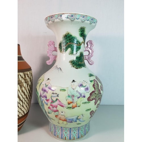 48 - Large oriental vase approx 13'' and terracotta vase approx 11'' tall...