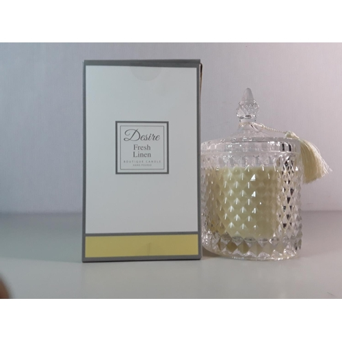 14 - Boxed Desire fresh linen candle...