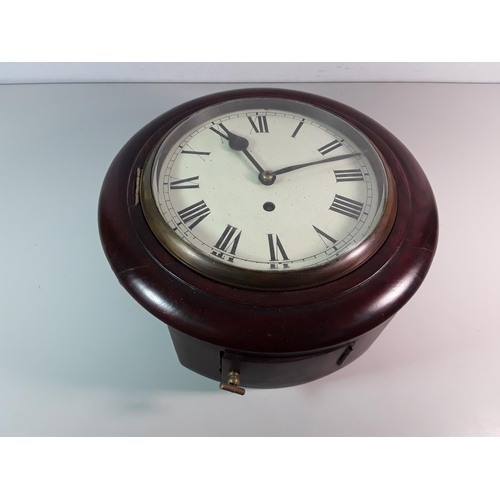 23 - Mahogany cased School clock with a fusee movement...