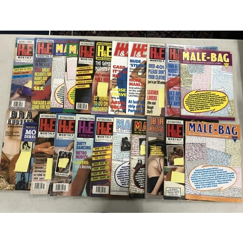 58 - Box of vintage adult magazines including, H&E and Bra Busters...