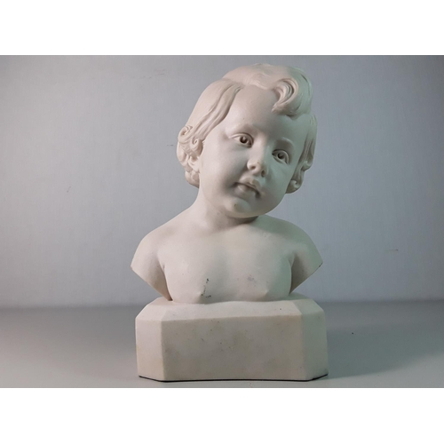 4 - Cast marble bust of a boy Approx  11'' tall...