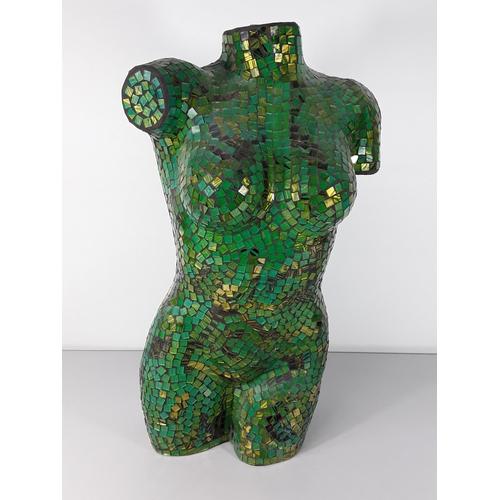 41 - Green mosaic torso approx 24'' tall...